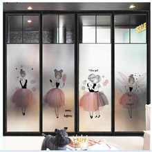 window Glass stickers Scandinavian pink girl scrub static windows glass office bathroom frosted film