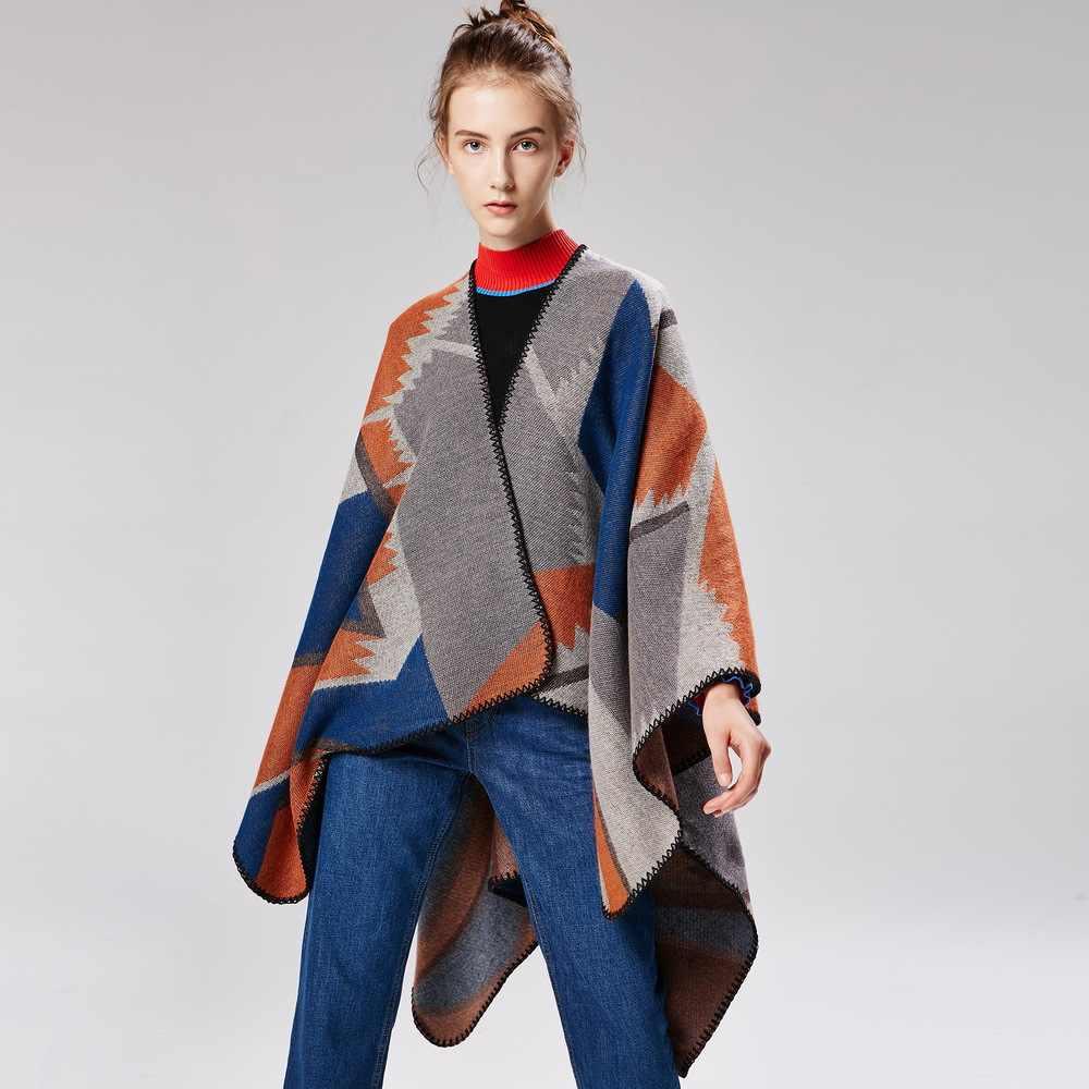 Nouveau cachemire ponchos mode géométrique en dents de scie motif châle wrap dame hiver épaissir couverture chaude écharpe surdimensionné pashmina cape