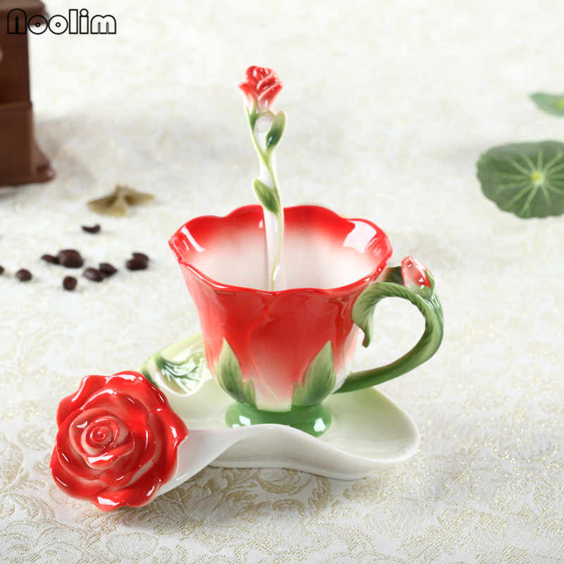 NOOLIM 3D Rose Coffee Cup Enamel Tea Cup Set With Spoon Saucer Creative Cups Ceramic European Bone China Drinkware