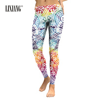 Lixiang Women Leggings Aztec 3D Printing leggins Stretch Elastic Workout Pants