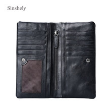 Long Vertical Wallet Men 2019 Leather Zipper Wallets Credit Card Holder(China)