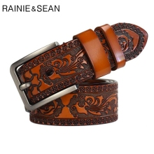 RAINIE SEAN Mens Brown Belt Leather Embossed High Quality Vintage Genuine Cowhide Men Casual