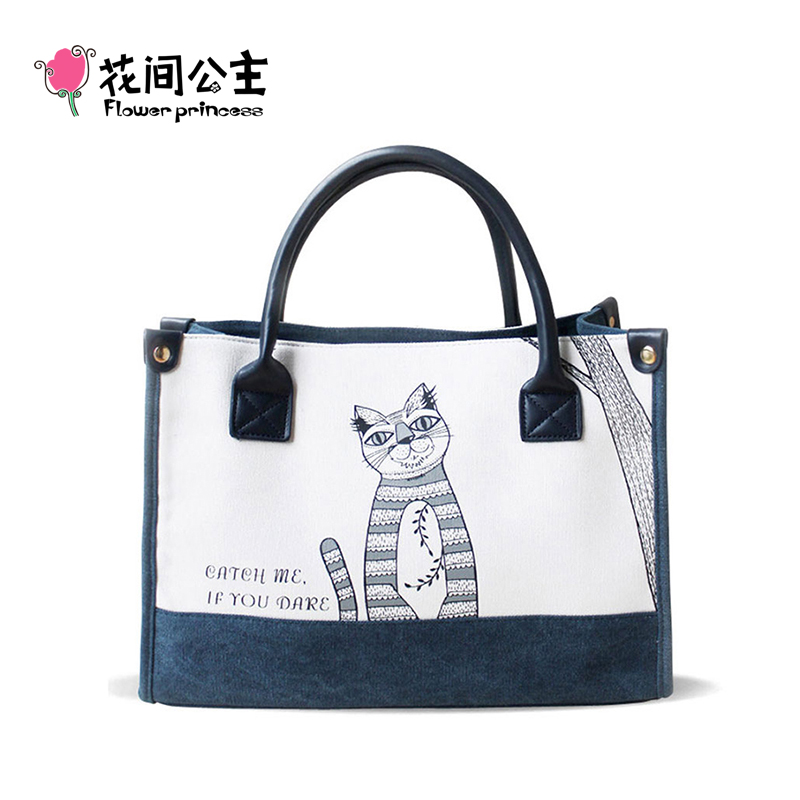 Flower Princess Canvas Cat Large Tote Bags Women Handbags Ladies Hand Bags Bolsa Feminina Bolsos Mujer Dames Tassen Borse Donna flower princess crossbody bags for women embroidered nylon shoulder bags schouder tassen dames ladies messenger bolsos mujer