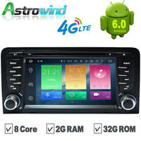 8 Core 2G RAM 32G ROM Android 6.0 Car GPS Navigation System DVD Player Auto Radio Audio Video Stereo Media For Audi A3 OBD2 RDS