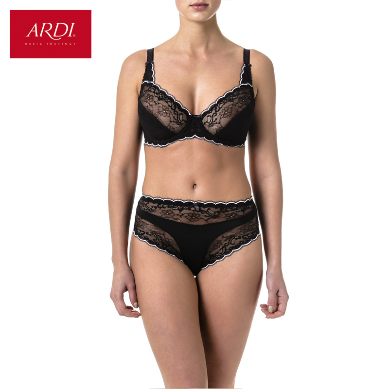 Womens Bra & Brief Set Lace Black Soft Cup Large Size Big Breast Bras and Panty Sets for Women Plus 80 85 90 C D E ARDI N2002