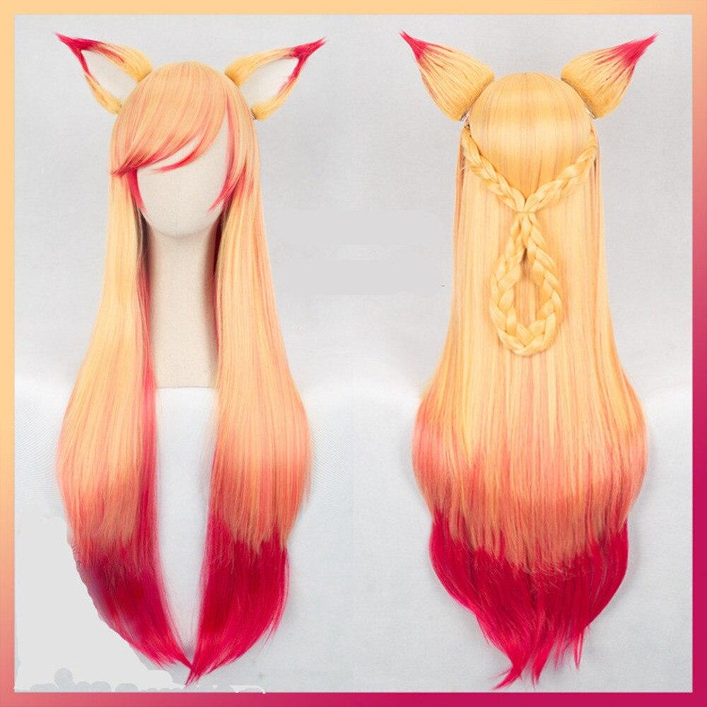 100cm wig LOL Ahri Gumiho Wig Hair Fox Star Guardian ...