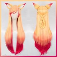 100cm wig LOL Ahri Gumiho Wig Hair Fox Star Guardian Cosplay Costume Wig + Ear Anime Men Adult Women Hair