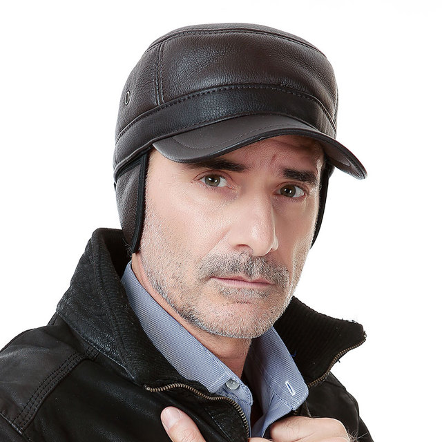 Hot Selling Winter Male Genuine Leather Hat Baseball Cap Large Adjustable Ear Men's The Elderly Thick  B-0605