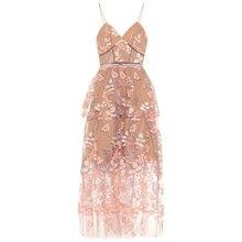 2019 New arrive Pink Floral-embellished dress