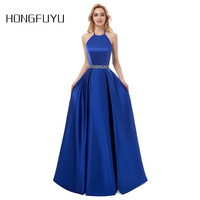 Robe Marriage Satin Halter A Line Long Evening Dresses 2018 Sleeveless Backless Beading Floor Length Evening Dress HFY50901