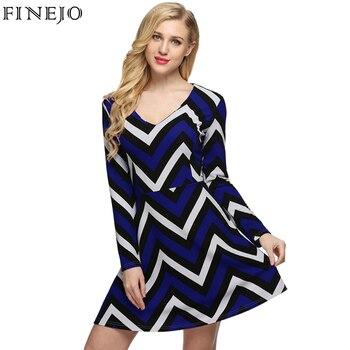 FINEJO Brand New Designer Semi Formal Designer Wave Print Classic Women Long Sleeve V Neck A-line Simple Mini Dress S-XXL semi formal summer dresses