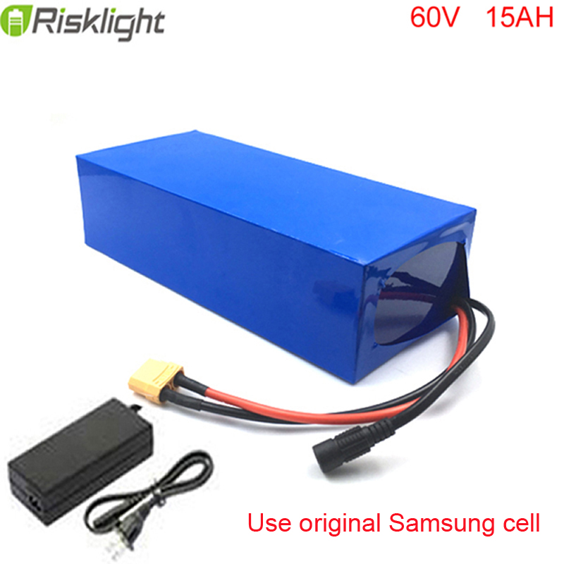 No taxes Electric Bike battery 60V 15Ah Li ion battery Motorcycle battery pack with Charger For Samsung cell us eu no tax diy 48 volt 15ah electric bike battery pack use samsung cell battery 48v 15ah e bike battery for 1000 watt motor