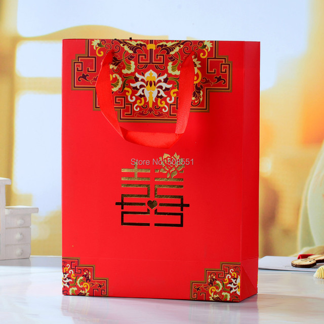Red Double Hiness Paper Gift Bags For Wedding Packaging Bag With Handle Party Favors 1pcs