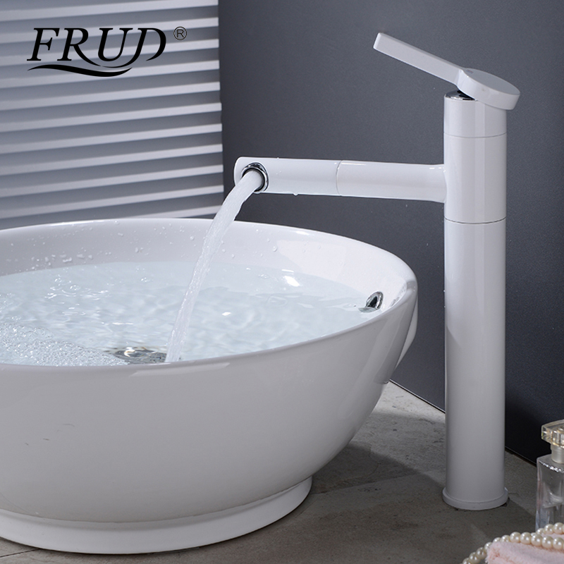 FRUD New Pull Out Basin Faucets White Water Tap Deck Mounted Install Water Tap Single Handle Cold and Hot Water Faucet Y10163FRUD New Pull Out Basin Faucets White Water Tap Deck Mounted Install Water Tap Single Handle Cold and Hot Water Faucet Y10163