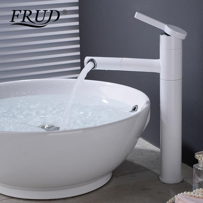 FRUD nouveau robinets de bassin à tirer robinet d'eau blanche monté sur le pont installer robinet d'eau mitigeur robinet d'eau froide et chaude Y10163