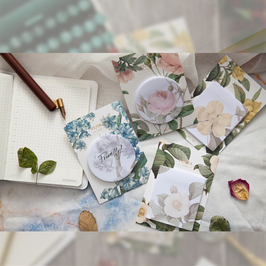 30 Sheets//pad Rose Flowers Self Adhesive Memo Pad Sticky Notes Bookmark New