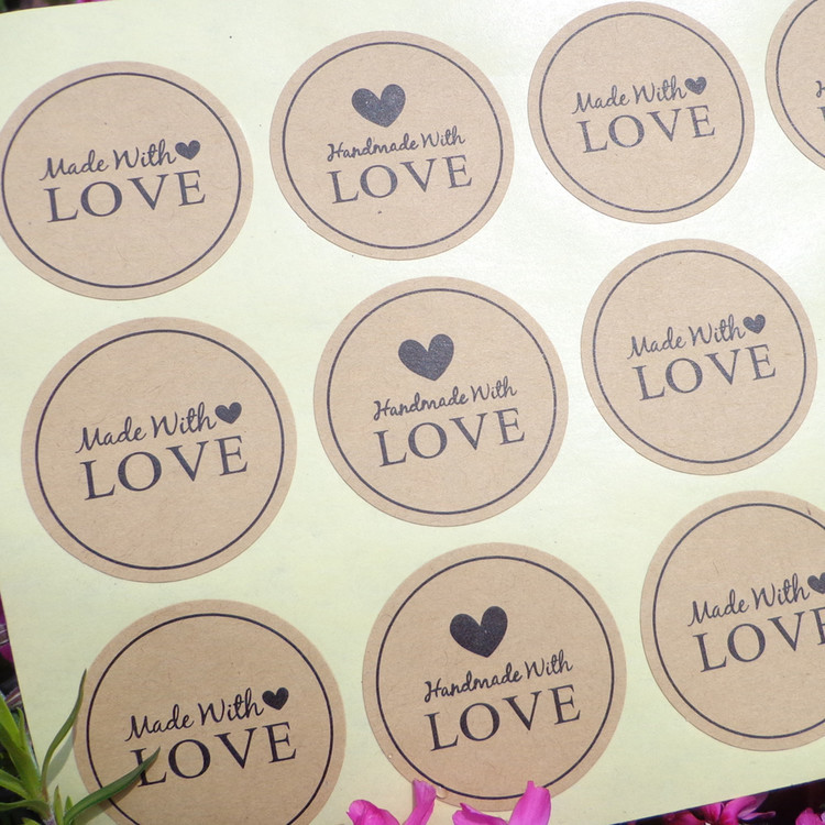 120Pcs 2018 New Arrival Made With Love Heart Handmade Cake Packaging Sealing Label Kraft Sticker Baking DIY Gift Stickers M1063