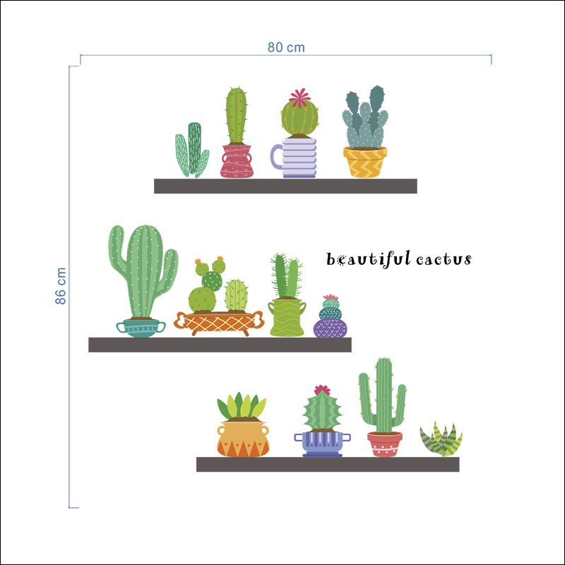 Cute catoon Potted plants cactus Wall Stickers Home Decor Living Dining Room Accessories DIY Plants Mural