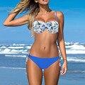 2016 Mulheres Sexy Verão Estilo Beach Wear Empurrar Para Cima do Biquíni Halter Floral Maiô Biquíni Brasileiro
