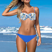 2016 Womens Sexy Summer Style Beach Wear Bikini Push Up Halter Floral Brazilian Bathing Suit Bikini