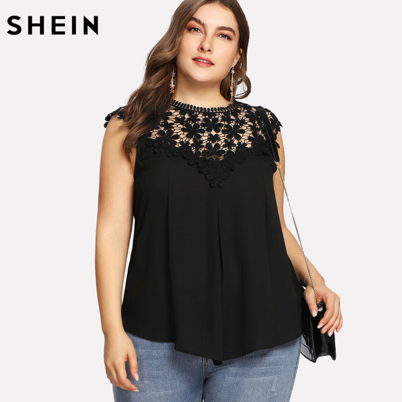 2fc9f6c112 Detail Feedback Questions about SHEIN Plus Size Black Lace Sleeveless Blouse  Women Summer Keyhole Back Daisy Lace Shoulder Shell Top Big Size Elegant  Blouse ...