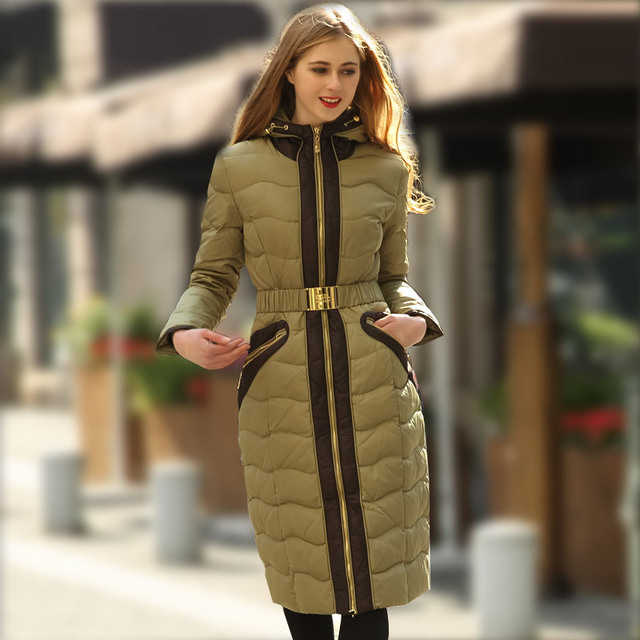 Роялкэт 2016 Зимняя Куртка Женщин вниз Куртки высокого качества верхняя одежда стройная длинный сгущает белая утка вниз пальто женщин падения пальто