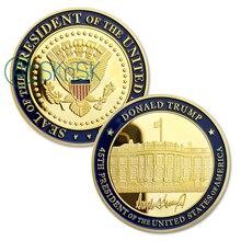 1PC's 45-я печать, президент США Дональд Трамп Позолоченные памятные монеты коллекционные подарки, сувениры