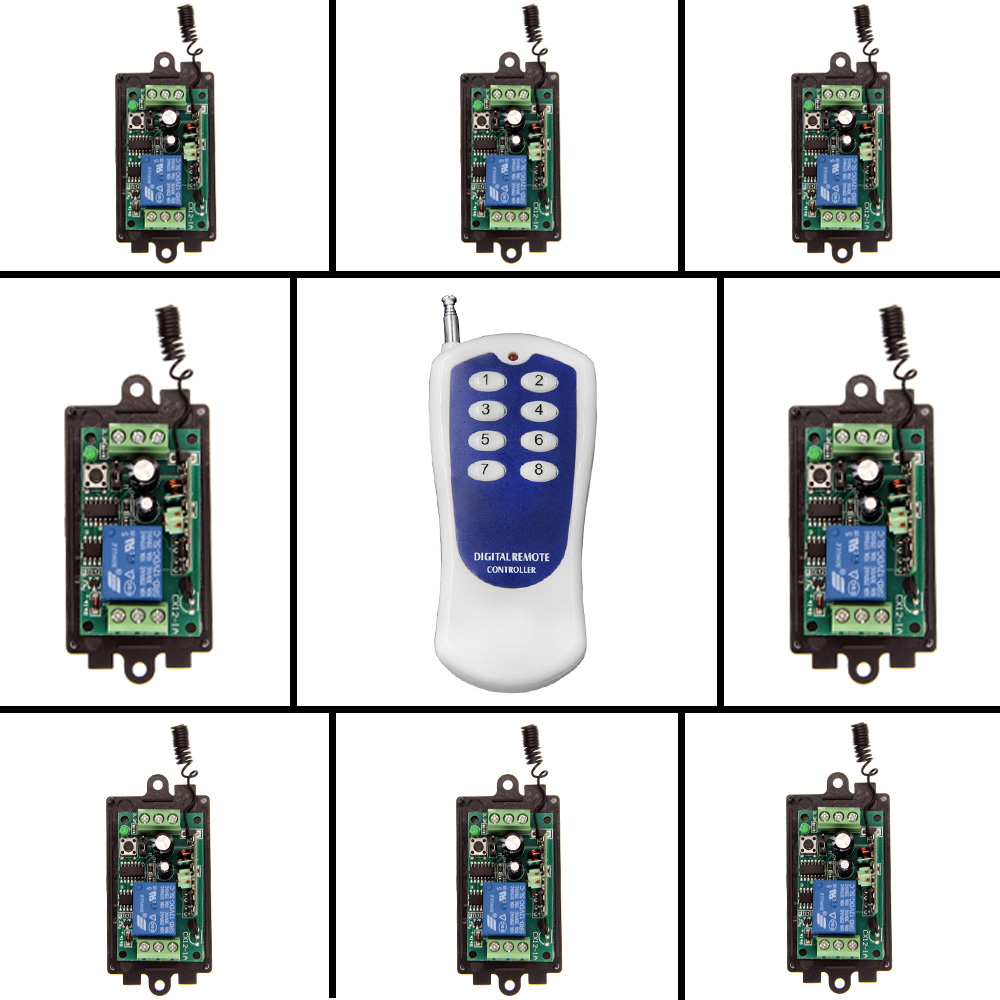 DC 9V 12V 24V 1 CH 1CH RF Wireless Remote Control Switch System,315/433 MHZ 8CH Transmitter And 8 X Receivers,Momentary/Toggle 12v 8 ch channel rf wireless remote control switch