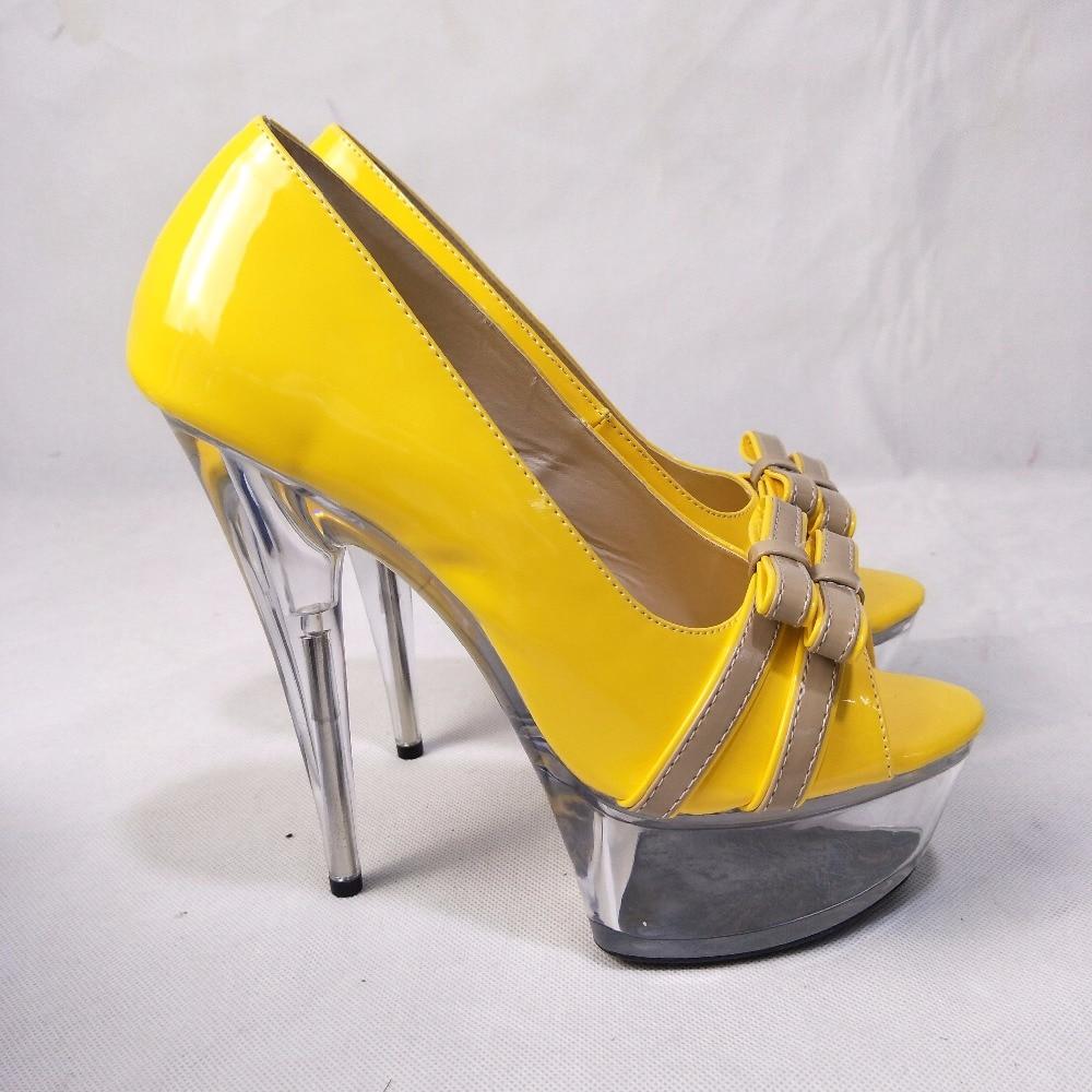 15 De Tacones Boca Cm Nueva Amarillo Altos Llegada Tacón Gorgeous 02 Zapatos Plataforma Cristal Ultra 01 Baja Alto Cqq7U15w