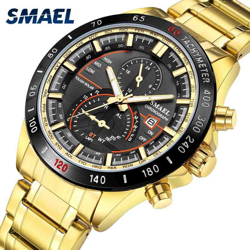 SMAEL 2019 Luxury Men Watches Gold Tone Stainless Steel Expansion Band Fashion Chronograph Quartz Watch Men Sport Wristwatch