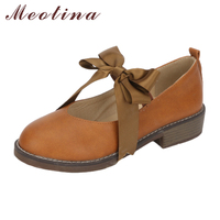 Meotina Mary Janes Shoes Women Bow knot Flat Shoes Riband Flats Round Toe Casual Ladies Shoes 2018 Plus Size 9 42 43 Brown Black