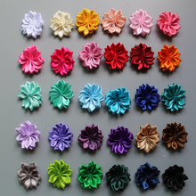 50 pcs/lot 30colors  Satin Ribbon Multilayers fabric flowers for headbands without clips girl DIY hair accessories