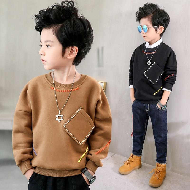 Children's clothing winter boy warm fleece jacket boy's long sleeve T-shirt girls velvet tops kids fashion sports outfits unisex