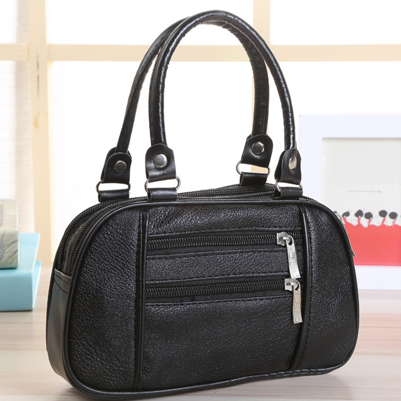 small bags for women 2017 New handbag pu stylish double zipper bag for middle  aged mother tote bag womens handbags and purses-in Top-Handle Bags from ... 2f5fbe10fec6a
