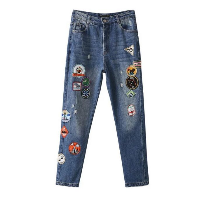 2016 autumn and winter new fashion cartoon pictorial newspaper section of the patch Slim was thin jeans trousers 2017 autumn winter fashion was thin