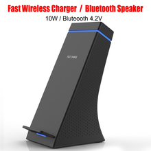 New Qi Fast Wireless Charging Stand With Bluetooth Speaker Outdoor Stereo Bass High Quality For All Qi Mobile Phones
