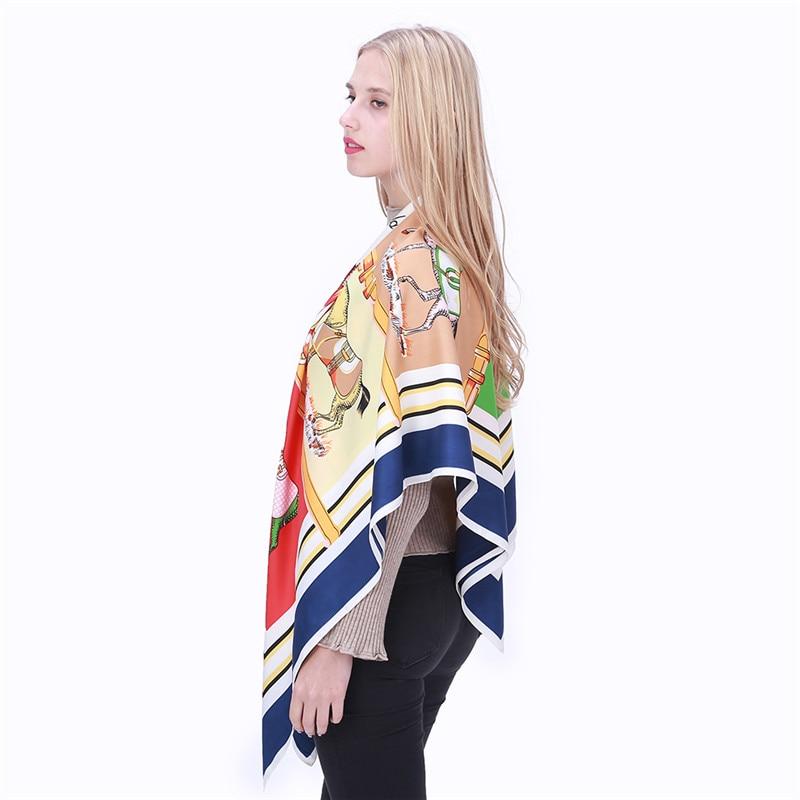 POBING Luxury Brand 100% Twill Silk Scarf Woman Swift Horse Wraps - Apparel Accessories - Photo 6