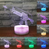 Cool 3D Machine Gun Night Lighs Multicolor Acrylic Table Lamp for Home Bedroom Atmosphere Beside Lampade as Baby Boy Toy Gifts