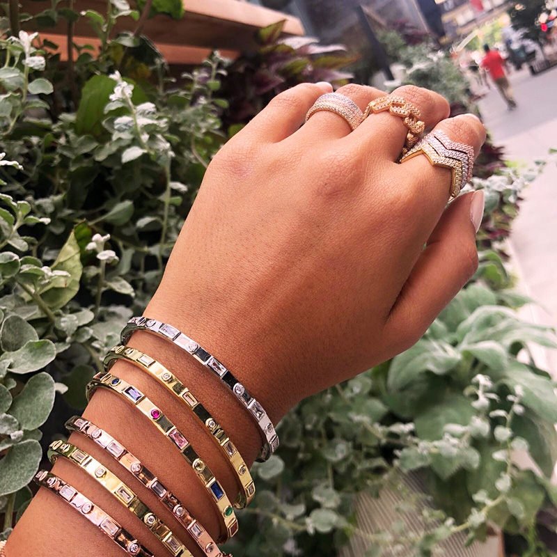 2019 Nice Rainbow Colorful irregular CZ Crystal Open bangle bracelets For Women lovely girl Christmas Adjustable Jewelry gifts