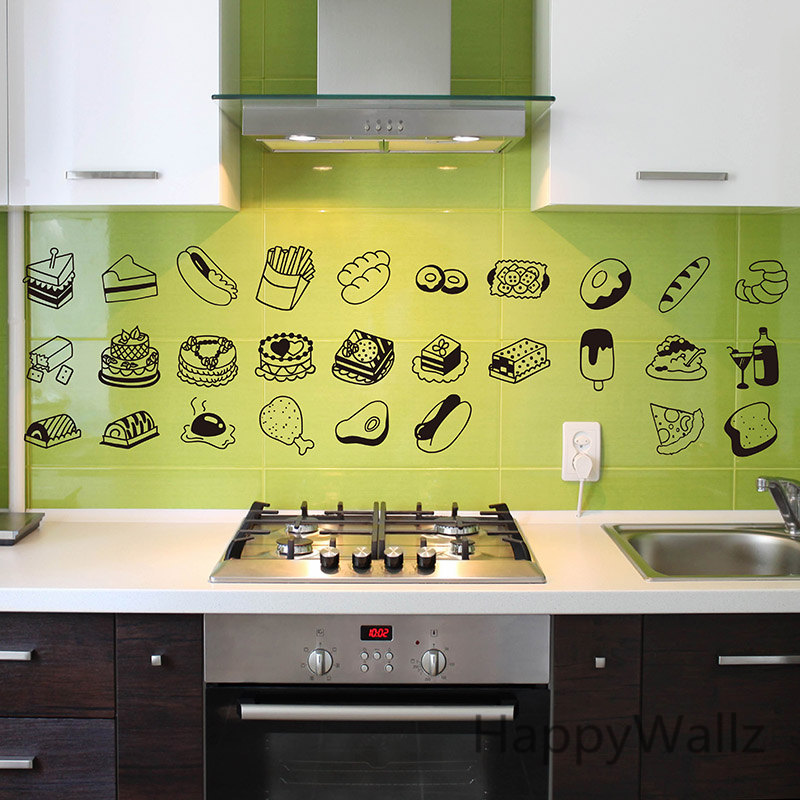 Kitchen wall sticker food drink wall decal diy decorative - Stickers protection cuisine ...
