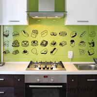 Kitchen Wall Sticker Food Drink Wall Decal DIY Decorative Kitchen Wall Stickers Removable Easy Wall Art M8