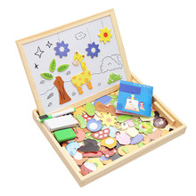 Wooden Magnetic Puzzle Figure Animals/ Vehicle /Circus Drawing Board 5 styles Box Kid Early Education Toy