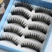 5 Pairs Cute Fashion Women Natural Long Black Eyelashes Fake Handmade Thick False Eye Lashes Extension Cosmetic Makeup Tool False Eyelashes