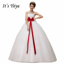 Free Shipping Strapless Flowers Pregnancy Red Waist Wedding Dresses Cheap White Bridal Frocks Custom Made Vestidos De Novia MH26