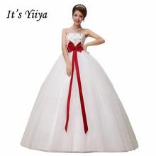 Free Shipping Strapless Flowers Pregnancy Red Waist Wedding Dresses Cheap White Bridal Frocks Custom Made Vestidos De Novia MH26