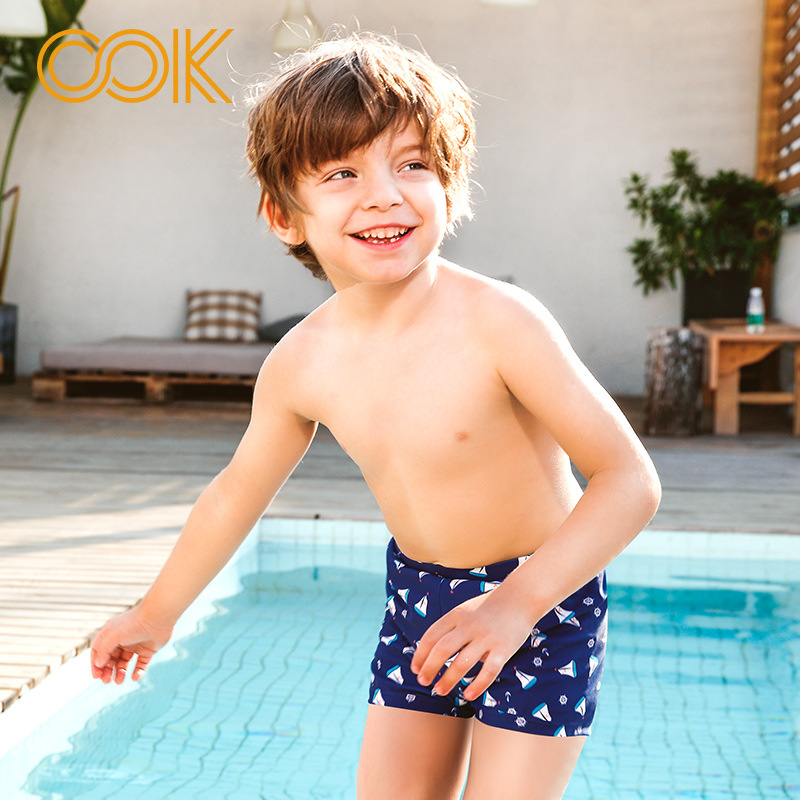 Children Kids Boys Swimming Trunks Swim Shorts Cartoon Stripe Beach Swimwear