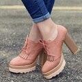 34 ~ 43 tamaño moda Brockden vendimia de la borla de cordones zapatos casuales de tacón alto Sexy Ruslana Korshunova plataforma tacones gruesos