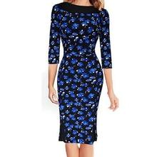 2017 neue ukraine hohe taille frühjahr blauer Baumwolle Kleid vestidos de festa damen mädchen hülse halben abend party plus größen xl xxl