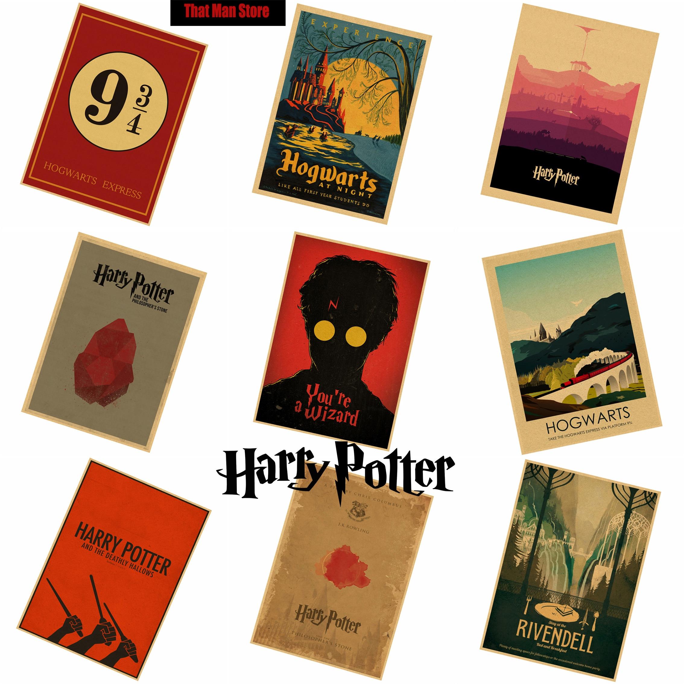 Que El Hombre Tienda Nuevo Harry Potter serie de dibujos animados retro Poster R