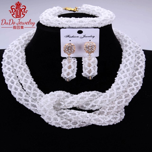 2018 African Nigerian Wedding Jewelry Set White Set Of Beads Dubai Costume 2 Layers Necklace Set For Bride Party Women Christmas